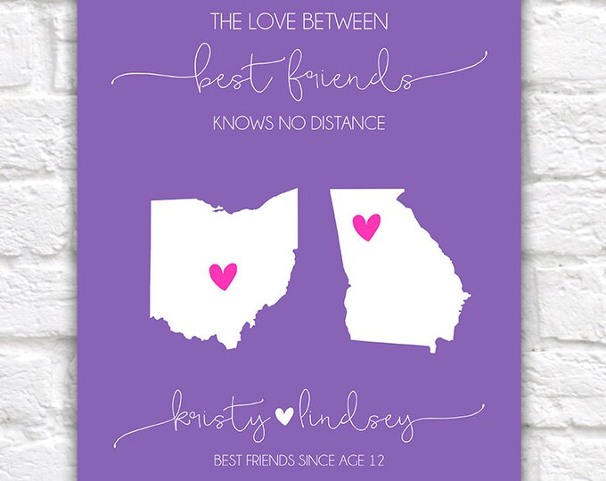 Featured listing image: Best Friend Quote, The Love Between Best Friends Knows No Distance, Personalized Map Art, Canvas Digital Birthday Gift, Moving Away | WF95