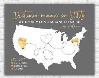 Personalized Long Distance Couple Map, Drive, Flight Time Between Boyfriend, Girlfriend, LDR, I Miss You Gift, Long Distance Love | WF297