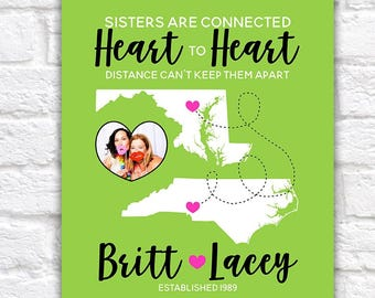 Gift for Sister, Best Friend, Family Art Print, Custom, Personalized Gift - Maps, Hearts, Lime Green, Hot Pink, Bridesmaid Gifts | WF499