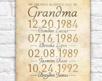 Grandmother Gift, Grandchildrens Birthdates - Custom Art Gift for Mother, Mother in Law, Grandma, Custom, Grandma Birthday Gifts | WF229