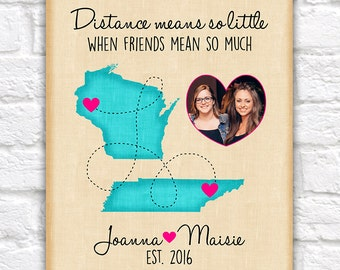 Custom Best Friend Birthday Gift, Long Distance Custom Map, Friendship, Quote, Moving Away, Miss You, BFF, Bestie, Names, Hot Pink | WF352