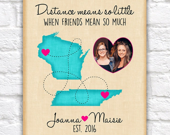 Featured listing image: Custom Best Friend Birthday Gift, Long Distance Custom Map, Friendship, Quote, Moving Away, Miss You, BFF, Bestie, Names, Hot Pink | WF352