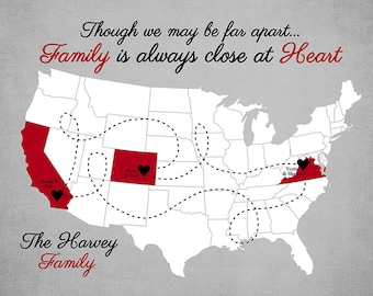 Custom Gift for Family Friends, Personalized Map - Established Date, Though we May be Far Apart, We are Always Close in Heart Quote | WF493