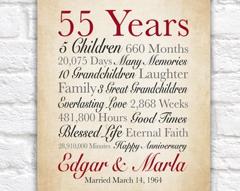 55th Anniversary Gift, 55 Years Married, Gift for Grandparents Anniversary, Grandma and Grandpa Gift, Parents Wedding Anniversary | WF687