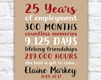 Personalized Retirement Gift, Employee Thank You Appreciation Gifts, Retiring Gift, Gift for Coworker, Teamwork, Years of Employment | WF591