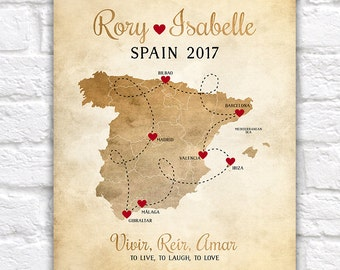 Spain Map, Custom Gift, Honeymoon, Wedding, Engagement, Study Abroad, Europe, Madrid, Barcelona, Valencia, Gibraltar, Elopement | WF244