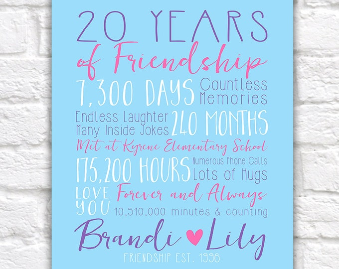 Featured listing image: Best Friend Anniversary, Years of Friendship, Friendsversary Special Gift for Friend on Birthday, Long Term Friend, Fun Gifts | WF364