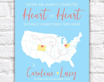 Birthday Gift for Sister, Best Friend Gift -  Art Print, Long Distance Friendship, Relationship, You Choose - Heart, Dotted Line | WF330