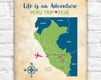 Custom Peru Map, Machu Picchu, Cusco, Lima, Peruvian Trip, Inca Empire World Landmark, Study Abroad, South America, Peru Travel | WF268