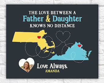 Maps of Dad and Daughter or Son, Cute Gift for Father, Grandpa, Daddy, Dad Gifts, Step Dad, Foster Dad | WF597