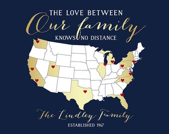 Custom Gift of Family Locations, Art Print of Map, Gold, Relatives, Aunt, Cousins, Sister, Brother, Mom, Dad, Parents, Thank You | WF390
