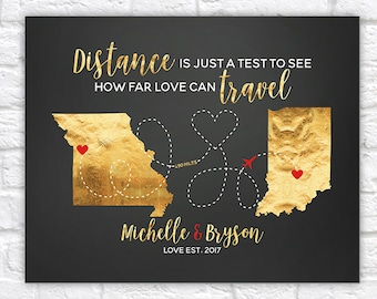 Personalized Two Map Art, Distance is just a test to see how far love can travel, Quote Map, Miles Apart, Long Distance Relationship | WF246
