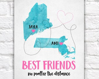 Best Friend Gift, Long Distance Friendship Maps, Moving Out of State, Going Away Gifts, Pink and Blue, Watercolor, Summer Birthdays | WF234