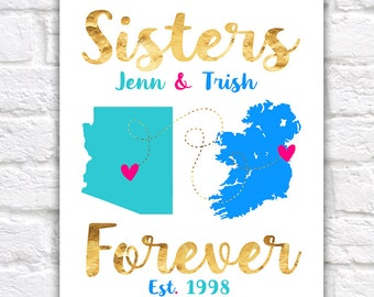 Sisters Forever Gift, Gift for Sister, in Law, Step Sister, Like a Sister Friends Quote about Sisters, Gold, Long Distance Moving | WF228