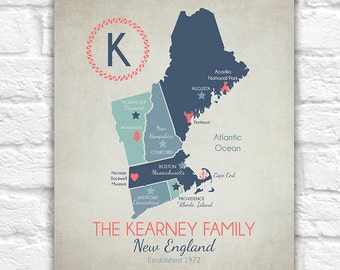 Custom New England Map, Family or Couples Names, Established Date - Maine, New Hampshire, Vermont, Boston, Connecticut, Rhode Island