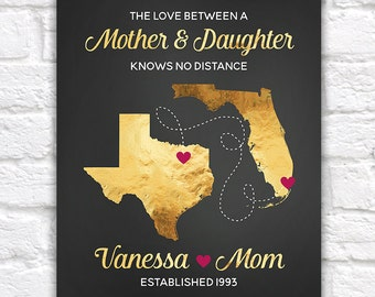 Mom and Daughter Gifts, Long Distance Maps, Gold Tone, Chalkboard Effect, Texas to Florida, Any Maps, Birthday Mother Christmas | WF324