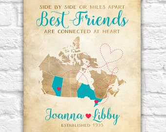 Canada Provinces Map, Best Friend Gift Ideas, Canadian BFF Map Art, Vancouver, BC, Ontario, Alberta, Miles Apart Close at Heart | WF146