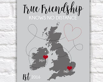True Friendship Gift, England, UK, Ireland Map, Long Distance Friends, Best Friend Birthday Gift, London, British, Irish, Scotland | WF256