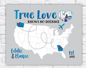Love Quote Map with Photo of Couple, Personalized Map, True Love, Long Distance Relationship Gifts, Blue, Gray, Gift for Boyfriend | WF554
