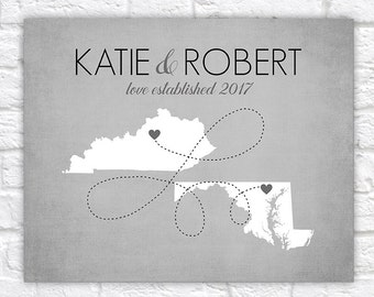 Personalized Map Gift, Two Map Art, Multi State, Long Distance Relationships, Simple, Modern, Gray Home Decor Wall Sign Art, Grey | WF372