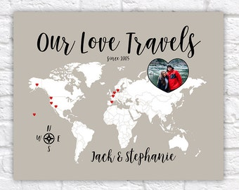 Love Travels Map, Custom Gift for Boyfriend, Girlfriend, Husband, Wife - World Wanderlust Decor, Travel Art, Gift for Anniversary | WF259
