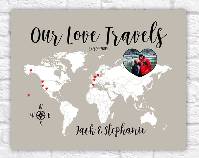 Featured listing image: Love Travels Map, Custom Gift for Boyfriend, Girlfriend, Husband, Wife - World Wanderlust Decor, Travel Art, Gift for Anniversary | WF259