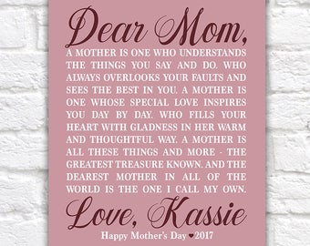 Personalized Mother's Day Gift for Mom from Daughter, Mom Poem, Poetry for Mom, Best Mom, #1 Mom Gift, Letter to Mother Special | WF584