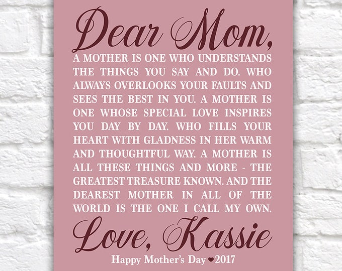Featured listing image: Personalized Mother's Day Gift for Mom from Daughter, Mom Poem, Poetry for Mom, Best Mom, #1 Mom Gift, Letter to Mother Special | WF584