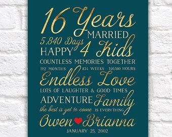 16th Wedding Anniversary Gift, Married for 16 Years, Gift for Husband, Wife, The Best Is Yet To Come, Gold Words Type Art, Timeless WF598