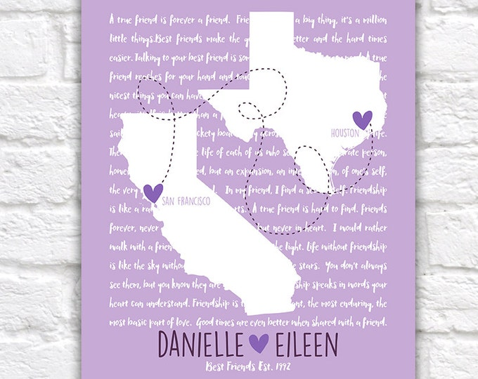 Featured listing image: Gift for Long Distance Friend, Best Friend Quotes, Song Lyrics, Personalized Maps - Gift for Bridesmaids, Maid of Honor, Lavender | WF316