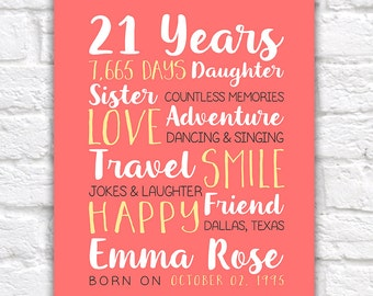 Any Year Birthday, 21st Birthday, Best Friend Birthday Gifts, 21 Years Old, 25, 15 Years Old, 12 Years Old, 13 Years Old, Daughter | WF342
