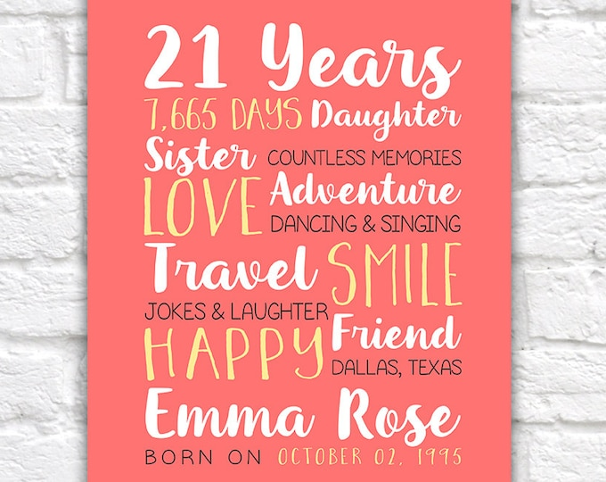 Featured listing image: Any Year Birthday, 21st Birthday, Best Friend Birthday Gifts, 21 Years Old, 25, 15 Years Old, 12 Years Old, 13 Years Old, Daughter | WF342