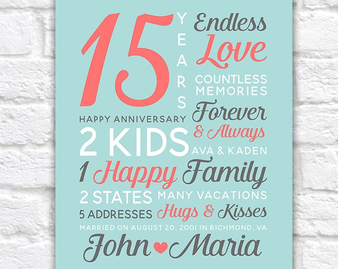 Featured listing image: Personalized Anniversary Gifts, Wedding Date, Canvas Art, 15th Year Anniversary, 15th Anniversary, 25 years, Anniversary Mens | WF248