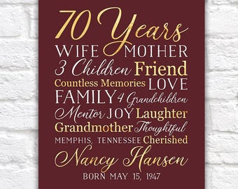 70th Birthday Gift For Mom Grandma 70 Year OId Born 1948 Grandmother