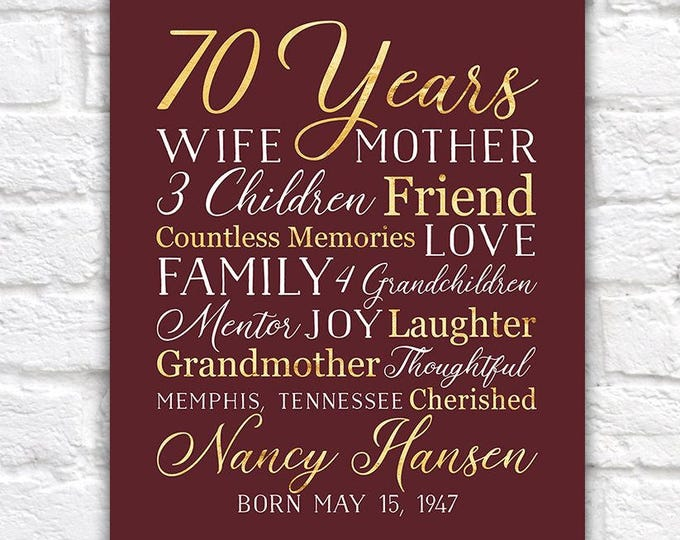 Featured listing image: 70th Birthday Gift for Mom, Grandma, 70 Year OId, Born 1948, Grandmother, Mother in Law, Mother Gift, Moms Birthday, Bday Party Wine | WF558