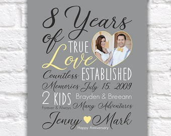 Wedding Anniversary Gift, Choose ANY YEAR, 8th Anniversary, 8 Years, 10 Years, 15 Year, Customizable Gift, Gift for Him, Yellow Gray | WF538