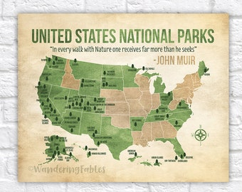 US National Parks Map Adventure Mountains Parks Rivers