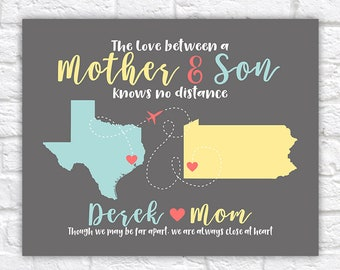 Long Distance Mom and Son Maps, Personalized Gift for Mom or Son, Moving Gift for Mother, Going to College, Mother Son Quotes | WF611