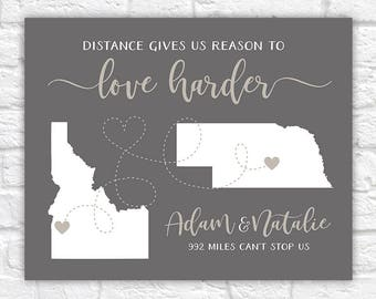 Long Distance Relationship Quotes Map, Love Harder Maps, Gift for Boyfriend, Girlfriend, Overseas, LDR, Moving, Anniversary Gifts | WF443
