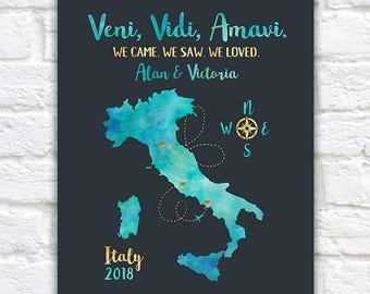 Italy Travel Map, Honeymoon or Trip to Italy, Rome, Florence, Venice, Naples, Amalfi, Cinque Terre, Pisa, Milan, Lake Como, Travels | WF371