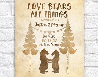 Love Bears All Things, Cute Wedding Gift, Grizzly, Cabin Wedding, State Park, Mountain Wedding, Outdoors, Bible Verse, 1 Corinthians | WF590