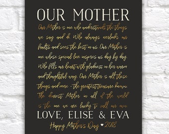 Mother's Day Gift, Gifts for Moms, Personalized Mom Birthday Present from Siblings, Daughter, Son, Mom Gifts for Mothers Day 2018 | WF472