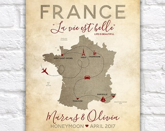 Personalized France Map, Paris, French Honeymoon, Vacation, Travel Map, Champagne, Paris, Nice, Marseille, South of France Map | WF321