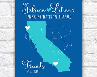 Custom California Long Distance Friendship Map, Gift for Friend Moving to Northern Cali, Southern Cali, Central California, Moving | WF237