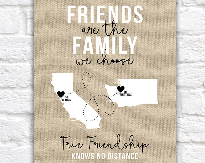 Featured listing image: Friends of the Family, Close Friends Gifts, Christmas Gift for Friends, Living Far Away, Moving, Long Distance Friendship, Burlap | WF44