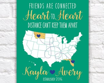 Birthday Gift for Best Friend, Sister, Cousin -  Art Print, Map with Locations - BFF's, Long Distance, Moving Away, Hometown, Bestie | WF312