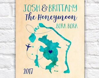 Bora Bora Map, Custom Honeymoon Gift, Travel Map, Bora Bora Island, South Pacific, French Polynesia, Borabora, Luxury, Turquoise | WF361