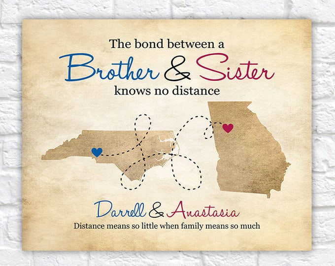 Featured listing image: Gift for Brother from Sister, Sibling Gifts, Long Distance Family Relationship, Moving Gift, Close Family, Gift for Older Brother | WF593
