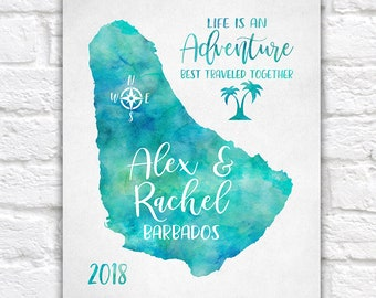 Barbados Map, Personalized Travel Gift, Life is an Adventure Quote, Palm Trees, Compass Art, Gift for Newlyweds, Honeymoon, Islands | WF613