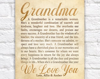 Gift Idea for Grandmother, Poem for Grandmar, Personalized Letter from Grandchildren, Grandkids, Poem about Grandmas, Nana Birthday | WF586